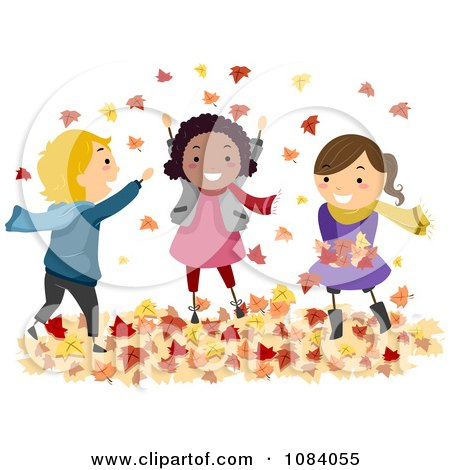 Clipart Stick Children Playing In Autumn Leaves - Royalty Free Vector Illustration by BNP Design Studio