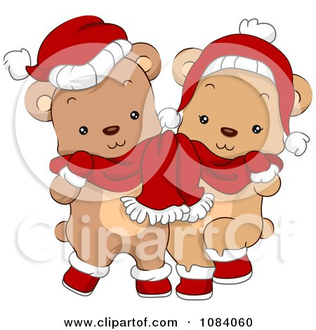 Clipart Cute Christmas Bears Sharing A Scarf - Royalty Free Vector Illustration by BNP Design Studio