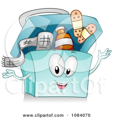 Cartoon Of A Teddy Bear And First Aid Medical Items Royalty Free Vector Clipart By Bnp Design