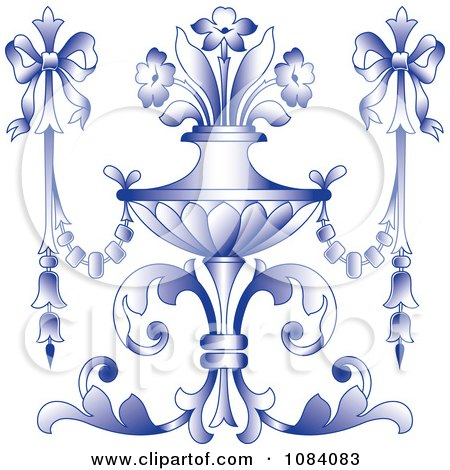 Clipart Ornate Purple Vase With Flowers And Bows - Royalty Free Vector Illustration by pauloribau