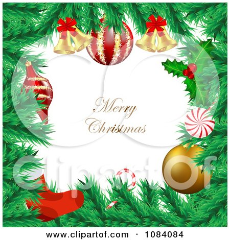 Clipart Merry Christmas Greeting Framed With Fir Christmas Tree Branches - Royalty Free Vector Illustration by vectorace