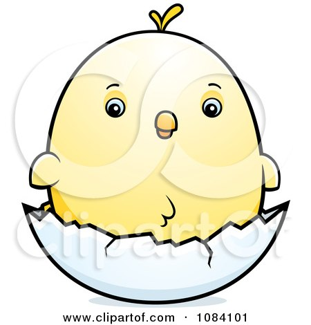 Clipart Chubby Chicken Chick On A Shell - Royalty Free Vector Illustration by Cory Thoman