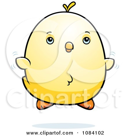 Clipart Chubby Chicken Chick Flying - Royalty Free Vector Illustration by Cory Thoman
