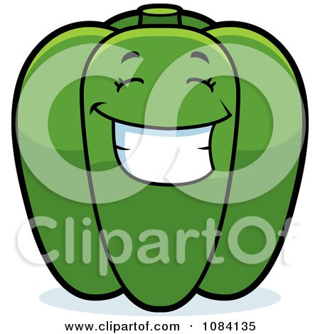 Clipart Happy Green Bell Pepper Character - Royalty Free Vector Illustration by Cory Thoman