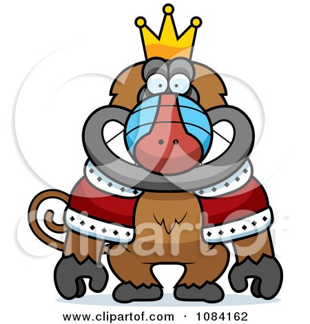 Clipart King Baboon Wearing A Crown And Robe - Royalty Free Vector Illustration by Cory Thoman