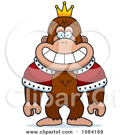 Clipart King Bigfoot Wearing A Crown And Robe - Royalty Free Vector Illustration by Cory Thoman