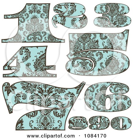 Clipart Brown And Turquoise Vintage Numbers - Royalty Free Vector Illustration by BestVector
