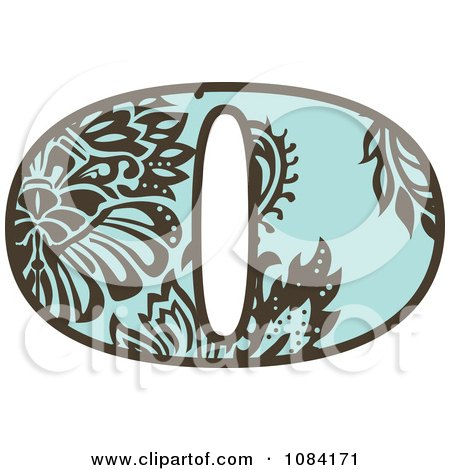 Clipart Brown And Turquoise Vintage Number 0 - Royalty Free Vector Illustration by BestVector