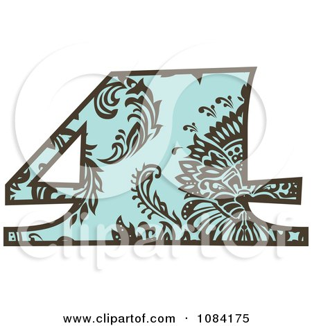 Clipart Brown And Turquoise Vintage Number 4 - Royalty Free Vector Illustration by BestVector