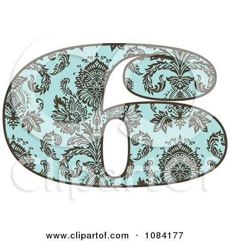 Clipart Brown And Turquoise Vintage Number 6 - Royalty Free Vector Illustration by BestVector