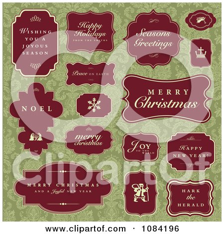 Clipart Red Christmas Greetings And Labels On Green Damask - Royalty Free Vector Illustration by BestVector