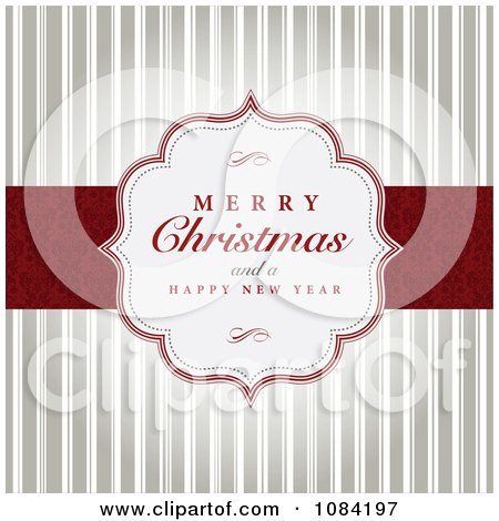 Clipart Merry Christmas And A Happy New Year Greeting Over Stripes - Royalty Free Vector Illustration by BestVector