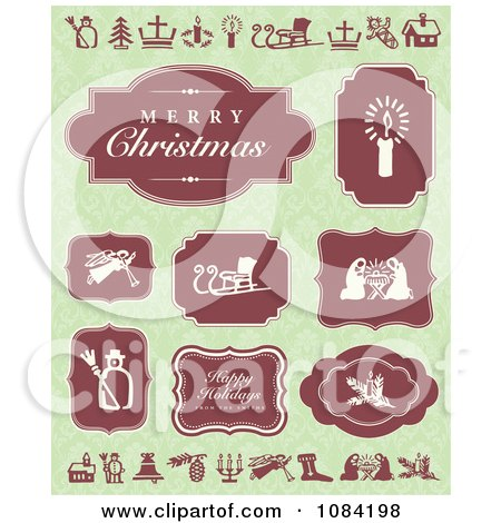 Clipart Red Christmas Greetings And Labels On Green - Royalty Free Vector Illustration by BestVector