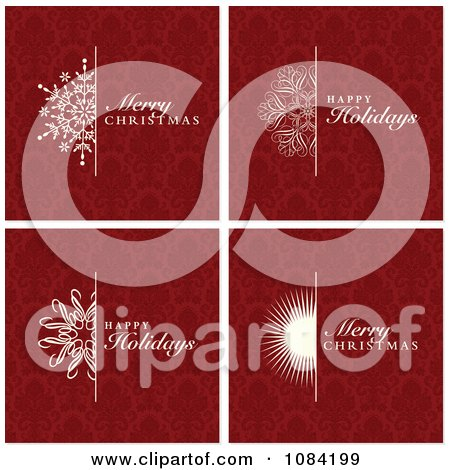 Clipart Red Christmas Greetings With Damask Backgrounds - Royalty Free Vector Illustration by BestVector