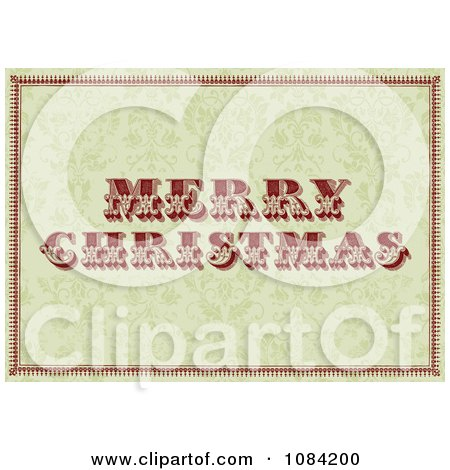 Clipart Vintage Merry Christmas Greeting Over A Green Floral Pattern - Royalty Free Vector Illustration by BestVector