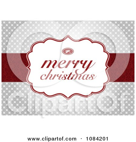 Clipart Merry Christmas Greeting Over Silver Snowflakes - Royalty Free Vector Illustration by BestVector