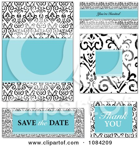 Clipart Blue And Distressed Black And White Victorian Pattern Wedding