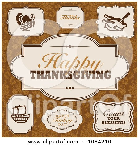 Clipart Happy Thanksgiving Frame Design Elements - Royalty Free Vector Illustration by BestVector