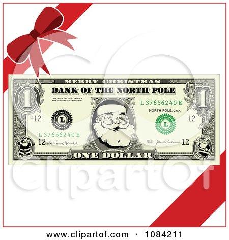 Clipart Christmas Santa Dollar Bill And Gift Ribbons - Royalty Free Vector Illustration by BestVector