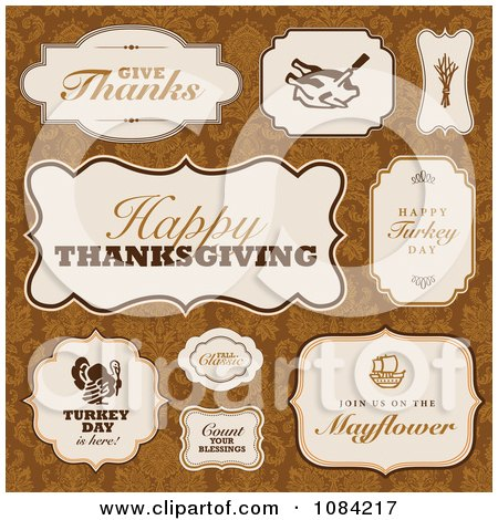 Clipart Thanksgiving Greeting Labels On Orange Damask - Royalty Free Vector Illustration by BestVector