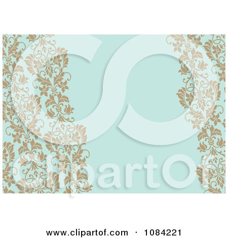 Clipart Tan Vines Over Blue Invitation Background - Royalty Free Vector Illustration by BestVector