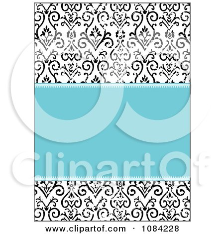 Clipart Blue And Distressed Black And White Victorian Pattern Invitation Background - Royalty Free Vector Illustration by BestVector