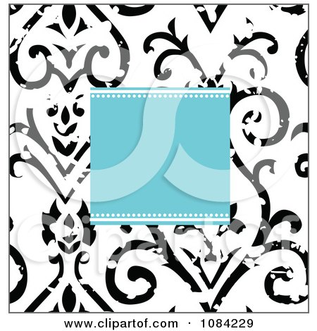 Clipart Blue Square And Distressed Black And White Victorian Pattern Invitation Background - Royalty Free Vector Illustration by BestVector