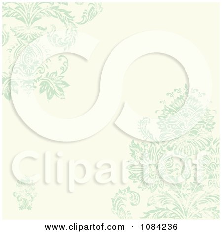 Clipart Green Distressed Damask And Cream Invitation Background - Royalty Free Vector Illustration by BestVector