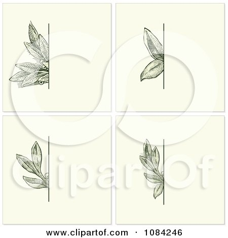 Clipart Green Leaves Invitation Backgrounds - Royalty Free Vector Illustration by BestVector