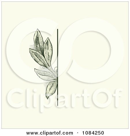 Clipart Green Leaves Invitation Background On Cream 4 - Royalty Free Vector Illustration by BestVector