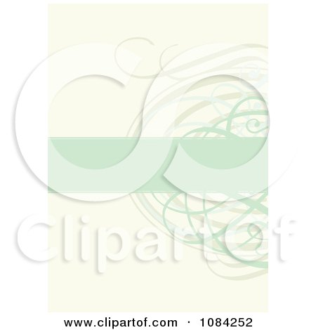 Clipart Green Text Bar And Swirl Invitation Background - Royalty Free Vector Illustration by BestVector