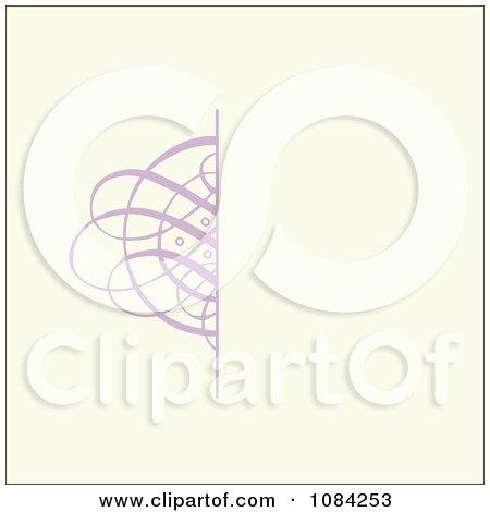 Clipart Purple Swirl Invitation Background On Cream - Royalty Free Vector Illustration by BestVector