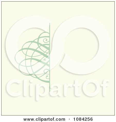 Clipart Green Swirl Invitation Background On Cream - Royalty Free Vector Illustration by BestVector