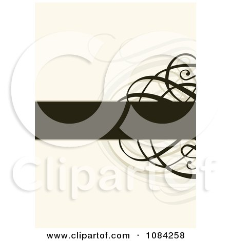 Clipart Cream Invitation Background With Black Swirls And A Text Bar - Royalty Free Vector Illustration by BestVector