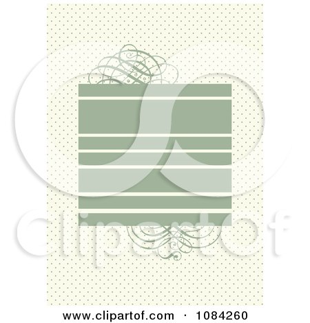Clipart Green Swirl And Text Box Invitation Background Over Dots - Royalty Free Vector Illustration by BestVector