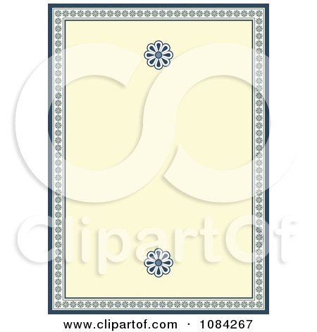 Clipart Cream And Blue Daisy Invitation Background - Royalty Free Vector Illustration by BestVector