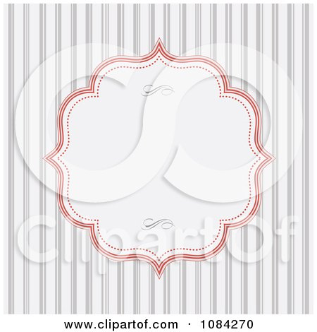Clipart Red Frame And Gray Stripe Invitation Background - Royalty Free Vector Illustration by BestVector