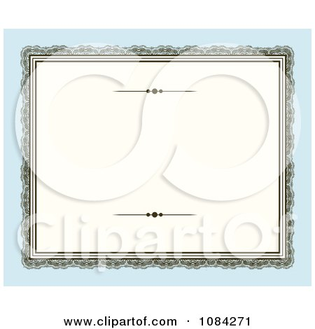 Clipart Blank Victorian Frame Over Blue - Royalty Free Vector Illustration by BestVector
