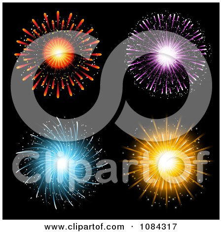 Clipart Red Purple Blue And Orange Fireworks - Royalty Free Vector Illustration by KJ Pargeter