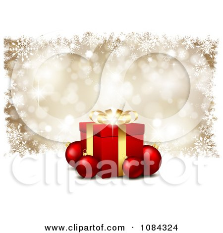 Clipart 3d Gift Box With Baubles Over Gold Snowflakes - Royalty Free Vector Illustration by KJ Pargeter