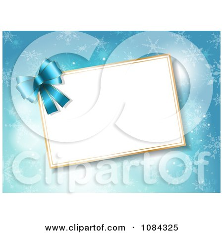 Clipart 3d Blue Bow And Christmas Tag Over Snowflakes - Royalty Free Vector Illustration by KJ Pargeter