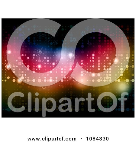 Clipart Background Of Colorful Glittery Lights And Stars - Royalty Free Vector Illustration by KJ Pargeter