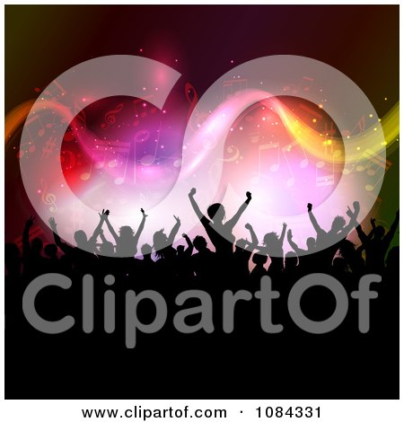 Clipart Silhouetted Crowd Under Music Notes Royalty Free Vector Illustration