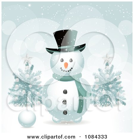 Clipart Snowman In The Snow With Christmas Trees - Royalty Free Vector Illustration by elaineitalia