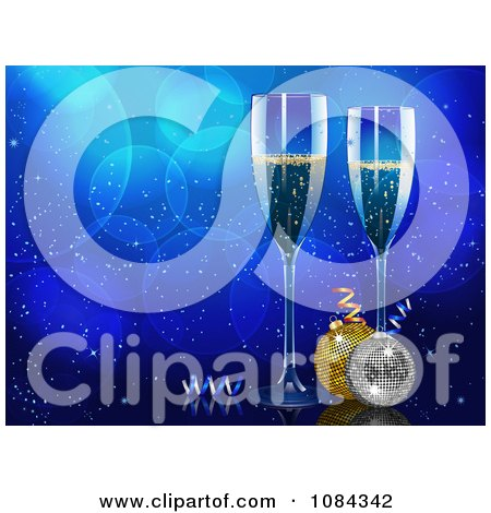 Clipart Christmas Champagne And Baubles Over Blue Bubbles - Royalty Free Vector Illustration by elaineitalia