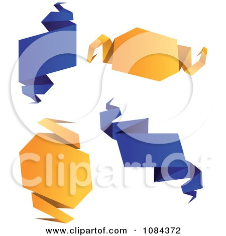 Clipart Blue And Orange Origami Paper Signs - Royalty Free Vector Illustration by Vector Tradition SM