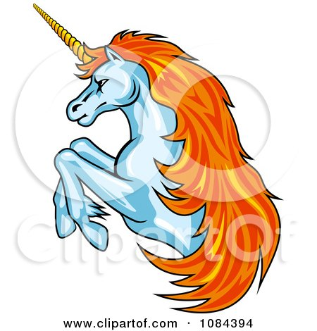 Clipart Orange Haired Rearing Unicorn - Royalty Free Vector Illustration by Vector Tradition SM