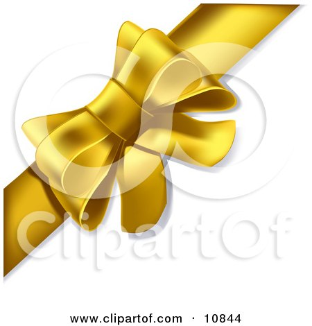Gift Present Wrapped With a Yellow Bow and Ribbon Clipart Illustration by Leo Blanchette