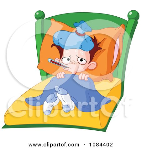 clipart sick boy with a fever laying in bed royalty free vector rh clipartof com clip art tickets clip art sickness
