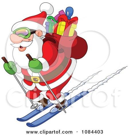 Clipart Santa Skiing Downhill With His Sack Of Gifts - Royalty Free Vector Illustration by yayayoyo